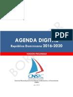 Versión Preliminar Agenda Digital R D 2016-2020