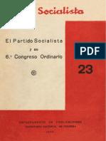 El Partido Socialist A y Su 6o. Congreso Ordinario
