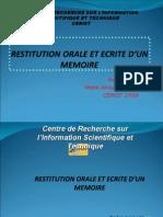 Restitution Orale Et Ecrite d'Un Memoire