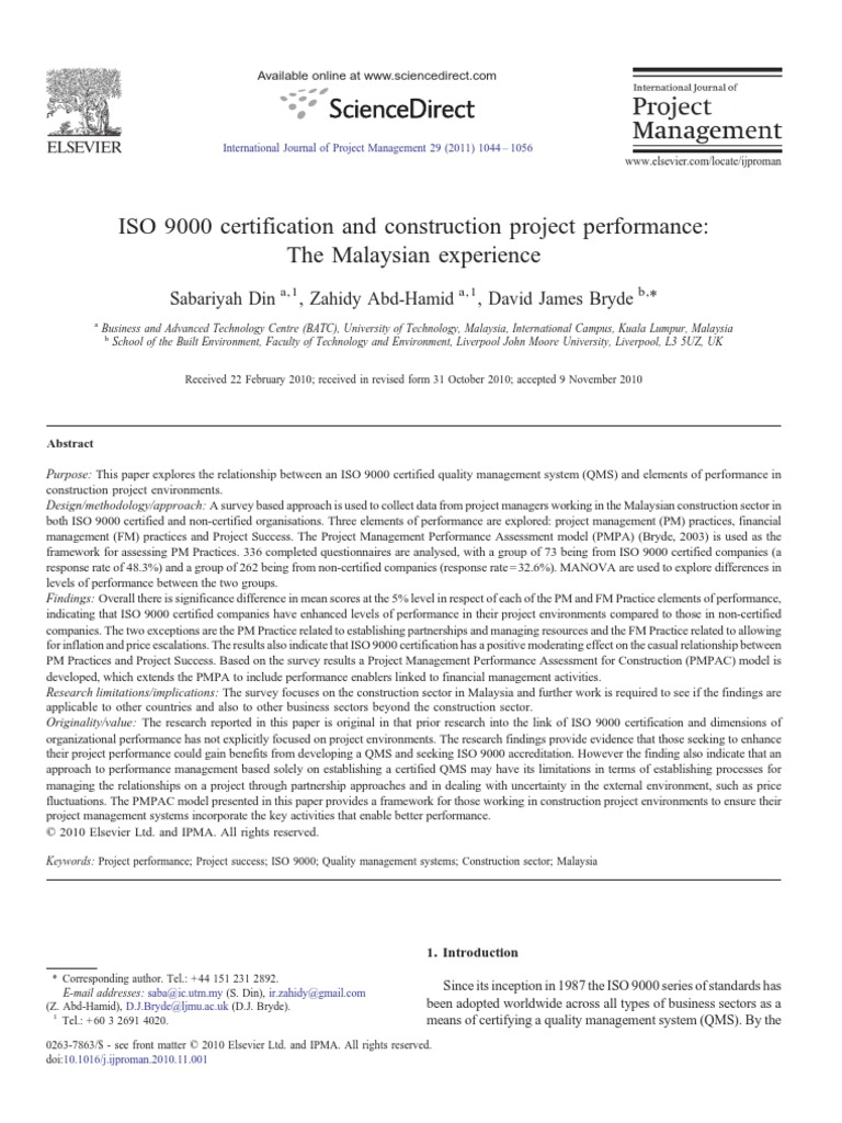 Iso 9000 Certification And Constrution Project Performance The