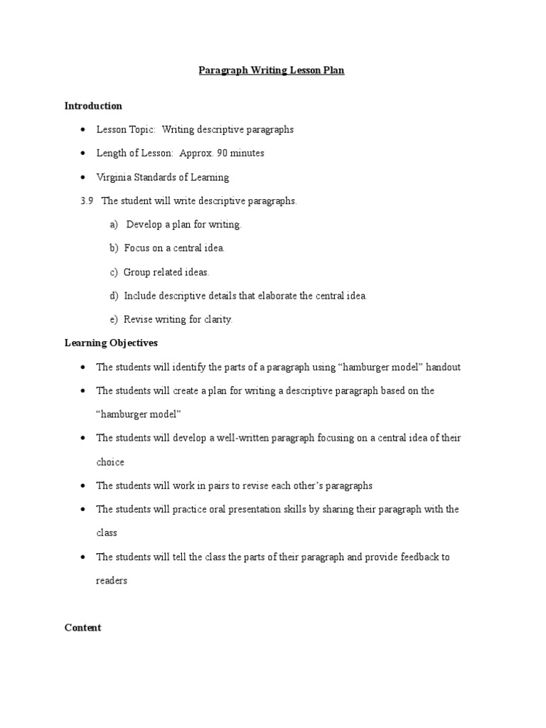paragraph writing lesson plans Third-grade students can use these skills to recognize parts of paragraphs and  write their own simple paragraphs there are many components to a paragraph.