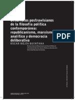 Desarrollos Postrawlsianos de La Filosofía Política Contemporánea