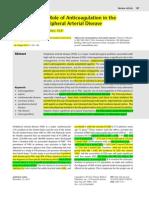 Anticoagulation in the Peripheral Arterial Disease