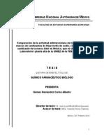 Comparación de la actividad antimicrobiana de tres diferentes marcas de sanitizantes de Hipoclorito de sodio, con respecto al sanitizante de la marca líder en México, que es utilizado en el Laboratorio I planta alta de la UMIEZ de la FES Zaragoza.