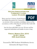 Halifax Assocation for Community Living's Lunch 'n Learn