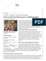 How to Cite the Dictionary in a Bibliography