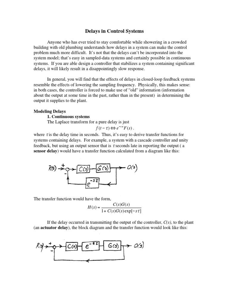 Delays In Control Systems Integer Theory Block Diagram Delay