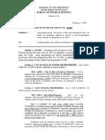 BIR REVENUE REGULATIONS NO. 4-2007