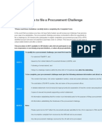 Guidelines to File a Procurement Challenge
