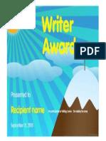 writer award