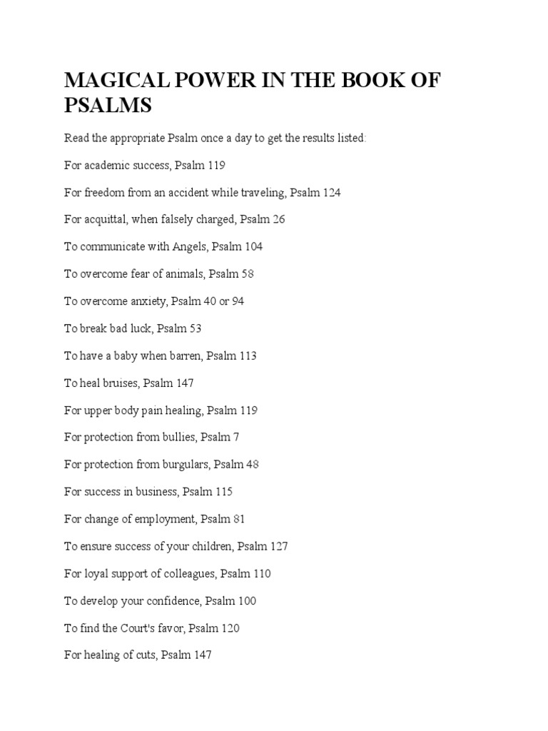 Magical Power in the Book of Psalms   Religion And Belief   Bible