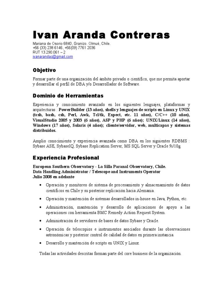 Famoso Pl Sql Curriculum Vitae Para 4 Años De Experiencia Bandera ...