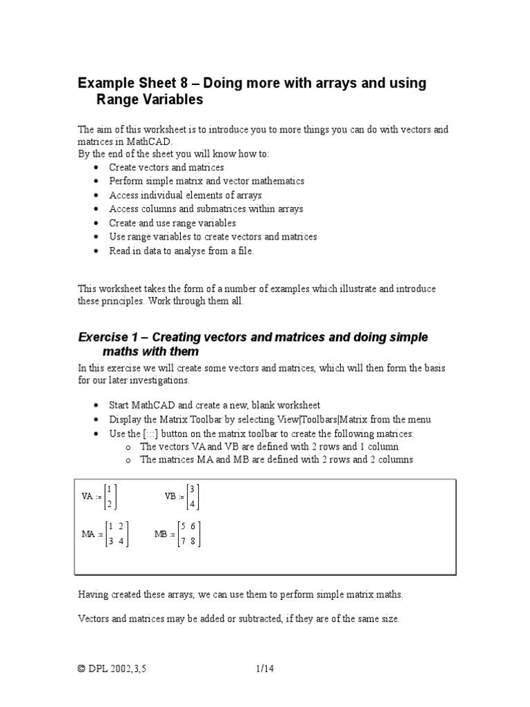 Mathcad Worksheet 8 | Matrix (Mathematics) | Determinant