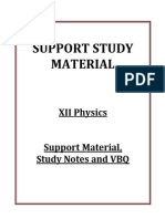 XII Physics Support Material Study Notes and VBQ 2014 15