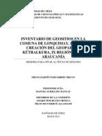 Inventario de Geositios en la comuna de Lonquimay, para la creación del Geoparque Kütralkura, IX Región de la Araucanía