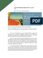 III Congreso Crítico de Narrativa Venezolana Del 1 Al 3 de Diciembre 2015