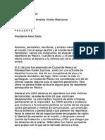 Periodistas del mundo exigen a EPN detener violencia contra la prensa
