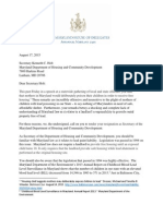Letter from 30 Maryland Delegates to Governor Larry Hogan's Housing Secretary