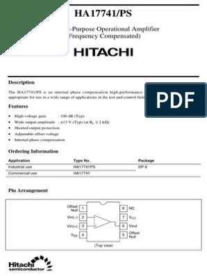 HA17741 datasheet | Electromagnetism | Electronic Engineering
