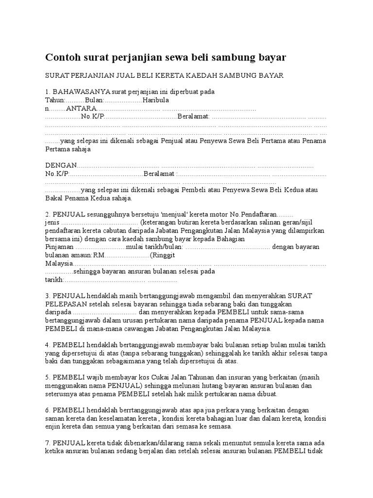 Contoh Surat Perjanjian Sewa Beli Sambung Bayar