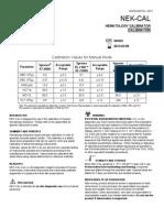 SYSMEX CALIBRATOR CHART