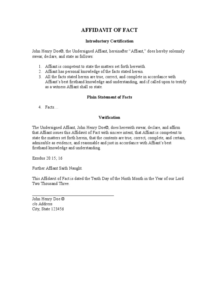affidavit of truth template – Affidavit of Truth Template