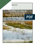 Caudales ecológicos en la marisma del Parque Nacional de Doñana y su área de influencia