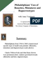 Philadelphians' Uses of Silhouettes, Miniatures & Daguerreotypes, 1760-1860