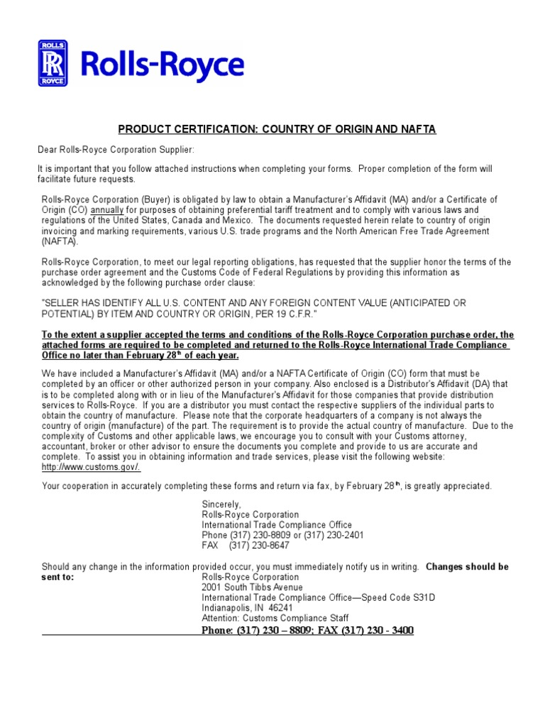 Product Certification Identity Document North American