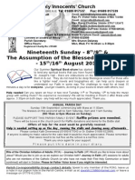 Newsletter 8th 9th & 15th 16th August 2015 19th Sunday & The Assumption  Year B.doc