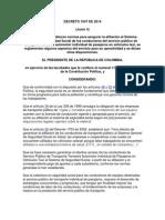 Decreto 1047 de 2014. Afiliacion de Taxistas