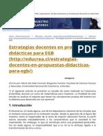 Estrategias Docentes en Propuestas Didácticas Para EGB - Educrea