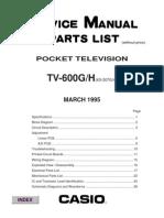 Casio TV-600H Manual de serviço