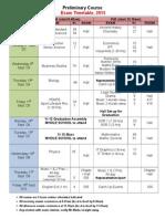 Prelim Exam Timetable 2015