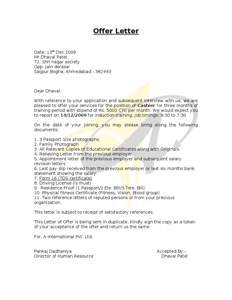 Offer Letter Sample Draft