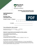 3CDMAT Semester One Examination 2013 Calc Free