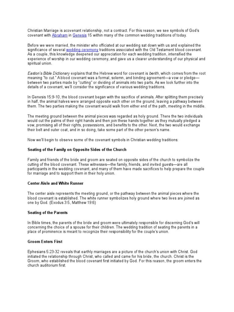 Christian Wedding Traditions Wedding Covenant Biblical
