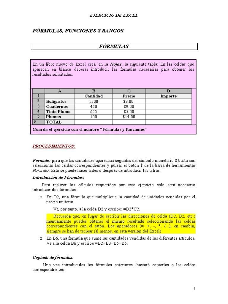 Formulas y Funciones   Fórmula   Microsoft Excel