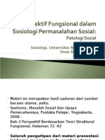 Perspektif Fungsional Dalam Sosiologi Permasalahan Sosial
