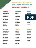 Jadwal Regu Piket Kelas 2c