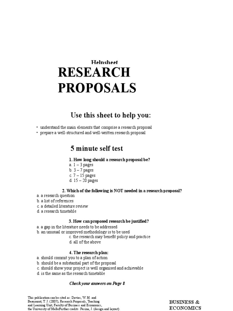 2 Page Research Proposal