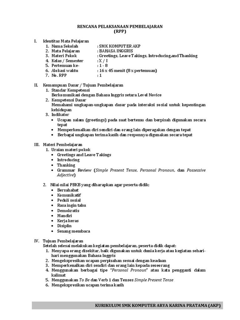 Rpp Bahasa Inggris Smk Kelas X Download