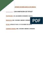 Estudio de Mecanica de Suelos de La Casa Habitacion Los Teteles 2014