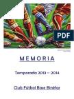 EFB Binéfar 2013-14 Memoria Foto Alfredo DiStéfano