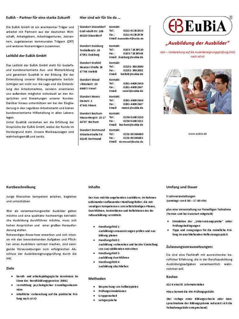 Vorbereitungskurs Ausbildung der Ausbilder (IHK zertifiziert) in 5 Tagen