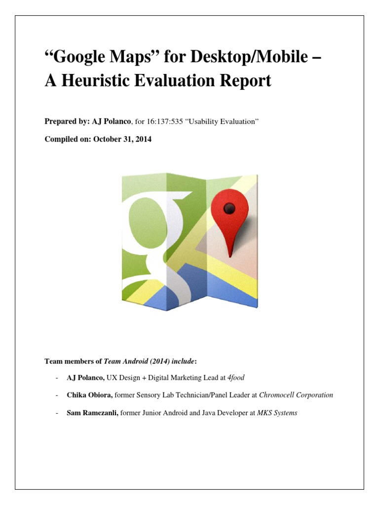 Google Maps Heuristic Evaluation | Usability | Android (Operating ...