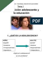 Tema 1b La Transicion Adolescente y La Educacion