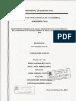 La Participación Ciudadana en el proceso electoral 2013 para renovar miembros del ayuntamiento de Othon P. Blanco del Estado de Quintana Roo