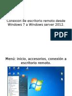 Conexión de Escritorio Remoto Desde Windows 7