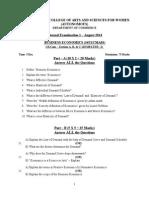 Business Economics Question Paper - I B.com a B & C